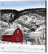 Great Canadian Red Barn In Winter Acrylic Print