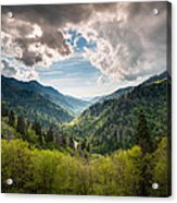 Great Smoky Mountains Landscape Photography - Spring At Mortons Overlook Acrylic Print by Dave Allen