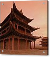 Great Wall Pagoda At Sunset Acrylic Print by Gordon  Grimwade