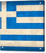 Greece Flag Vintage Distressed Finish Acrylic Print