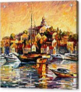 Greek Day - Palette Knife Oil Painting On Canvas By Leonid Afremov Acrylic Print