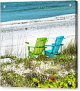 Green And Blue Chairs Acrylic Print
