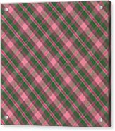 Green And Pink Diagonal Plaid Pattern Textile Background Acrylic Print