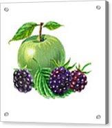 Green Apple With Blackberries Acrylic Print