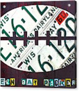 Green Bay Packers Football License Plate Art Acrylic Print