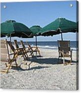 Green Beach Umbrellas Acrylic Print