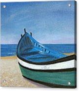 Green Boat Blue Skies Acrylic Print