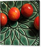 Green Bowl Red Marbles Acrylic Print