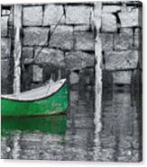 Green Dinghy Floating Acrylic Print