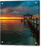 Green Dock And Golden Sky Acrylic Print