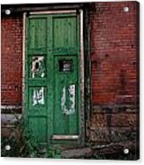 Green Door On Red Brick Wall Acrylic Print by Amy Cicconi