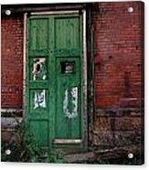 Green Door On Red Brick Wall Acrylic Print