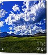 Green Field Of Clouds Acrylic Print