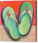 Green Flip Flops Acrylic Print