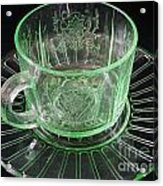 Green Glass Cup And Saucer Acrylic Print