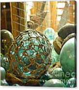 Green Glass Japanese Glass Floats Acrylic Print by Artist and Photographer Laura Wrede