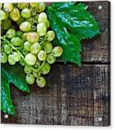 Green Grapes On A Rustic Wooden Table Acrylic Print