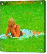 Green Grass Girl Acrylic Print
