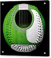 Green Guitar Baseball White Laces Square Acrylic Print