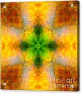 Green Heart Rainbow Light Mandala Acrylic Print