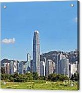 Green Hong Kong Skyline Acrylic Print by Lars Ruecker