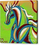 Green Horse Acrylic Print by Genevieve Esson