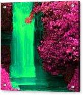 Green Irish Waterfall Surrounded By Pink Acrylic Print