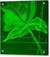 Green Negative Wood Flower Acrylic Print