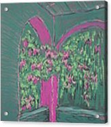 Green Patio Acrylic Print by Marcia Meade