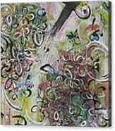 Green Pink Brown Abstract Art Spring Color Blossom Flower Butterfly Painting Abstract Acrylic Ink Ar Acrylic Print