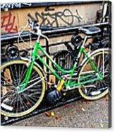 Green Schwinn Bike  Nyc Acrylic Print