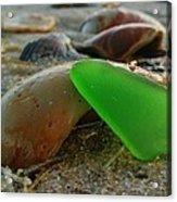 Green Sea Glass And Shells Hatteras Island 9 10/17 Acrylic Print