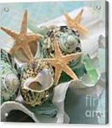 Green Shells And Sea Glass Acrylic Print