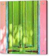 Green Shutters Pink Stucco Wall 2 Acrylic Print