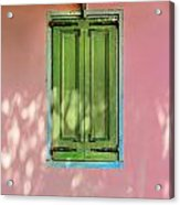 Green Shutters Pink Stucco Wall Acrylic Print