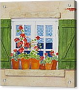 Green Shutters With Red Flowers Acrylic Print