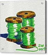 Green Spools Of Thread Acrylic Print