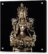 Green Tara Buddhist Goddess Statue Acrylic Print