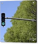 Green Traffic Light By Trees Acrylic Print by Sami Sarkis
