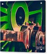Green Train Wheel Acrylic Print