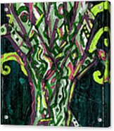 Green Tree With Pink Watercolor Acrylic Print