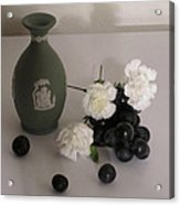 Green Vase Floral With Grapes Acrylic Print