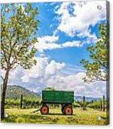 Green Wagon And Vineyard Acrylic Print