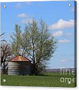 Green Wheatfield With An Old Grain Bin Acrylic Print