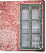 Green Window On Red Wall. Acrylic Print
