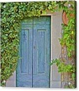 Green Wood Door Of Tuscany Acrylic Print