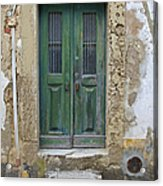 Green Wood Door With Hand Carved Stone In The Medieval Village Of Obidos Acrylic Print