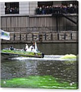Greening The Chicago River For St Patrick's Day Acrylic Print
