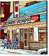 Greenspot Restaurant Notre Dame Street  South West Montreal Paintings Winter Hockey Scenes St. Henri Acrylic Print