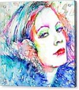Greta Garbo - Colored Pens Portrait Acrylic Print